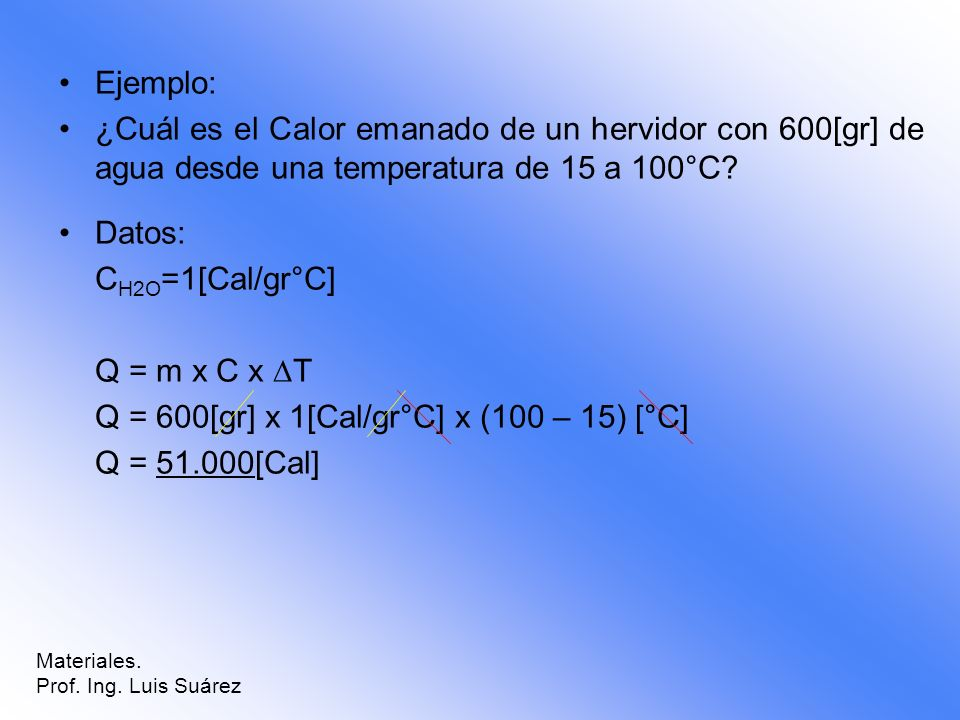 Q = 600[gr] x 1[Cal/gr°C] x (100 – 15) [°C] Q = 51.000[Cal]